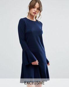 Warehouse Flute Sleeve Dress