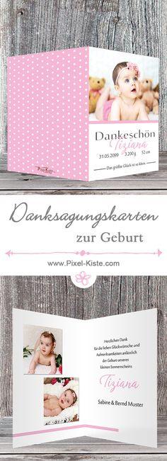 Danksagungskarten der Serie Tiziana und Tizian in versch. Farben erhältlich.  #Baby #Geburt #Danksagung #Danksagungskarten