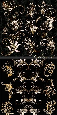 2 sets of vector golden floral ornaments with some decorative swirls for your classic designs. Stencils, Motif Floral, Floral Patterns, Pretty Patterns, Free Vector Graphics, Vector Vector, Vector Format, Vector Design, Tole Painting