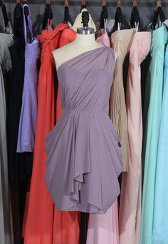 One Shoulder Chiffon Bridesmaid Dress, Popular Chiffon Short Bridesmaid Dress/Homecoming Dress by harsuccthing on Etsy https://www.etsy.com/listing/199872451/one-shoulder-chiffon-bridesmaid-dress