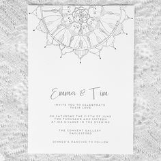 Mandala Boho Hand Drawn Wedding Invitation by Paper and Style Co.