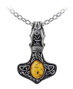 Amber Dragon Thorhammer Pendant