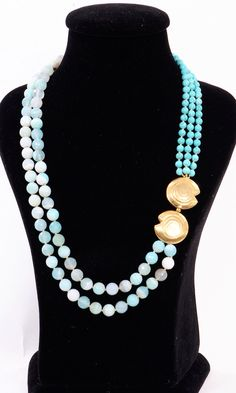 Natural striped Agate and Turquoise - bold!