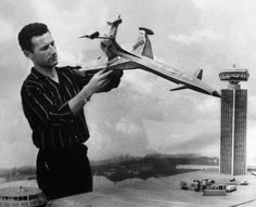 And the master behind the pioneering special effects, Derek Meddings, with Fireflash and London Airport models, from 'Thunderbirds' by Gerry and Sylvia Anderson (AP Films) Jamie Anderson, 1960s Tv Shows, Sci Fi Models, Role Models, Strange Tales, London Airports, Sci Fi Art, Filmmaking, Costumes