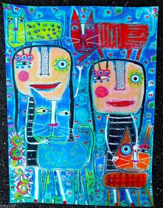 Tracey Ann Finley Original Outsider Raw Folk Collage Painting Girls Crazy 4 CATS #OutsiderArt