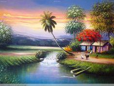 PAISAJE DOMINICANO Scenery Paintings, Nature Paintings, Cool Paintings, Art Village, Fantasy Landscape, Landscape Art, Cool Landscapes, Beautiful Landscapes, Beautiful Scenery Pictures
