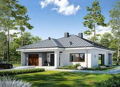 Projekt domu Dostępny D45 wariant I 120,57 m² - koszt budowy - EXTRADOM Modern Bungalow House, Home Fashion, My House, Gazebo, Provence, House Plans, Sweet Home, Shed, New Homes