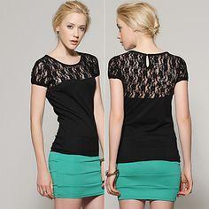 Short Sleeves Round Neckline Lace Pierced Women's Tops(1802AL027-0741) – US$ 19.99// not pretty