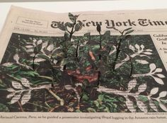 New York artist Yuken Teruya continues to craft amazingly meticulous works on paper from unlikely materials, including a series of floral growths from the front pages of the New York Times in his latest solo show. Here, a plant rises from a photo accompanying an article about illegal logging in the Amazon rainforest. (At Josee Bienvenu Gallery through April 11th.)Yuken Teruya, Minding My Own Business (The New York Times, October 19, 2013), 9 newspapers, wire, glue, 2 x 12.5 x 12.5 inches…
