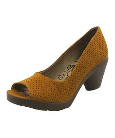 This Mustard Fila Perforated Leather Pump is perfect! #zulilyfinds