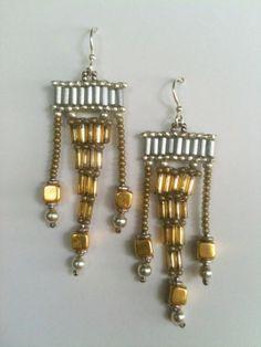"Earrings:  Silver Gold ""Bi-Metal"" Triangle & Bar, Bugle Bead Seed Bead Woven, Hand Made, One of a Kind, OOAK"
