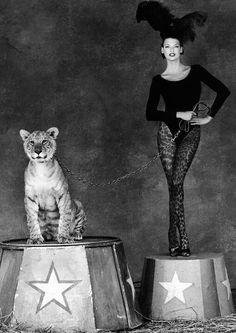 .Circus girl and tiger