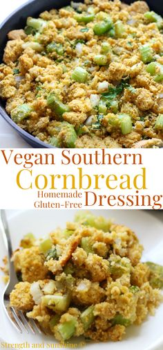 The best Homemade Vegan Southern Cornbread Dressing recipe! This gluten-free cornbread stuffing is made with leftover cornbread, celery, onion, and savory herbs. This soul food side dish is a must for Thanksgiving and anytime you need a little Southern comfort! It's an old-fashioned classic that tastes just like grandma used to make! #cornbread #stuffing #dressing #thanksgiving #sidedish