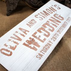 Distressed Wooden Wedding Sign With Engraved Artwork By Camdeco Vintage Signs