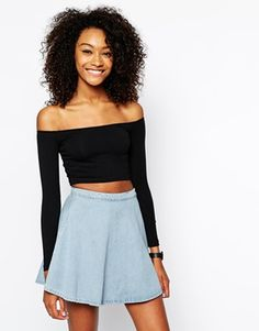 American Apparel Long Sleeve Bardot Crop Top