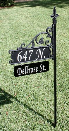 Boardwalk Reflective 911 Home Address Sign Wrought Iron Look with Customized Name Rider