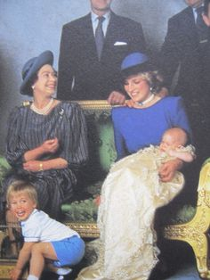 12/21/1984: Christening of Prince Henry at St. George's Chapel, with Queen Elizabeth II, Diana, Princess of Wales, & Prince Harry (Windsor, Berkshire)