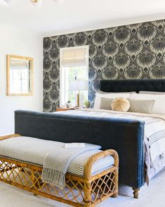 Wallpaper statement wall in bedroom. Farrow and Ball. Design by Emily Henderson.