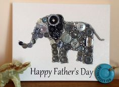Elephant button art canvas for a Fathers Day gift. Made to order in any colour.