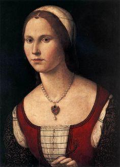 Vittore Carpaccio - Ritratto femminile olio su tavola 57 x 44 cm Collezione privata ca 1510