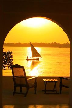 Dhow at sunset from Forodhani House in Shela , Lamu , Kenya