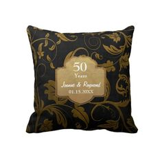 Black and Gold Damask 50th Wedding Anniversary Pillow is ready to customize with your names and anniversary date