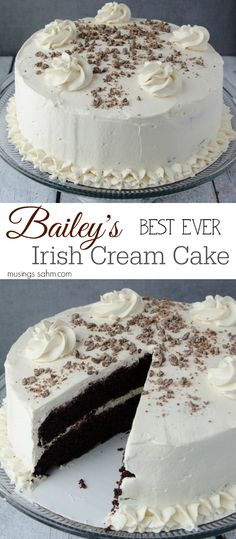 Bailey's Irish Cream Cake - The moist chocolate cake and flavorful real whipped cream frosting are so light, you'll have a hard time saying no to a second piece of this delicious chocolate cake! And of course, it includes real Bailey's Irish Cream, which Baileys Irish Cream, Irish Cream Cake, Irish Cake, Just Desserts, Delicious Desserts, Dessert Recipes, Asian Desserts, Easy Cake Recipes, Yummy Food