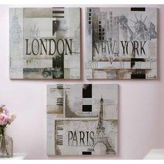 Framed Canvas London Paris New York WALL ART Set of 3: Home & Kitchen