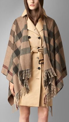 Check Merino Wool Cashmere Wrap | Burberry