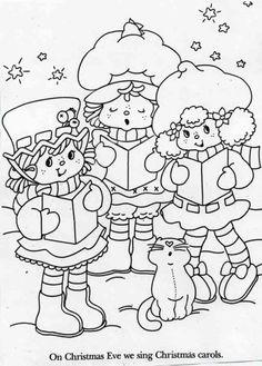Blueberry Muffin, Strawberry Shortcake, Lemon Meringue, and Custard singing Christmas carols.  Coloring sheet