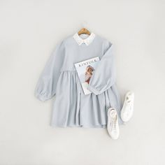 Simple Babydoll Dress, Blue and Lace Collar Sripe Blouse, Ivory