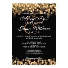 Start the year off right, as a couple.  Elegant Wedding Gold Lights Custom Invitations that would be just PERFECT for a New Year's Eve wedding ceremony.