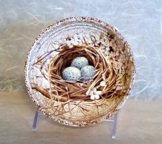 Bird Nest with Blue Eggs & Pink Blossoms on by AltaMacStudio