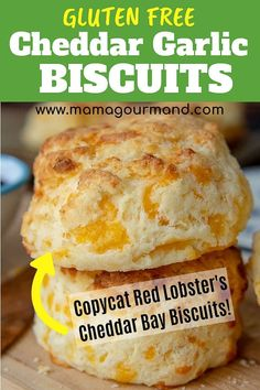 Gluten Free Cheese Biscuits - Gluten Free Cheese Scones are a savory, fluffy scone recipe flavored with cheddar and garlic. If you love Red Lobster's Cheddar Bay Biscuits, you will love this easy gluten free copycat version! What on earth is gluten? Gluten Free Cheese Scones, Gluten Free Biscuits, Cheese Biscuits, Gluten Free Biscuit Recipe Easy, Gluten Free Dinner Rolls, Gluten Free Mac And Cheese, Gluten Free Breakfasts, Gluten Free Desserts, Dairy Free Recipes