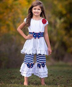 Blue & White Stripe Dot Tunic & Pants - Infant, Toddler & Girls