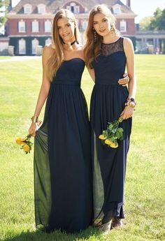 navy blue a line long chiffon elegant cheap bridesmaids dress