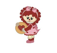Rag Doll with Heart Applique machine embroidery digitized design pattern  - Instant Download -4x4 , 5x7, and 6x10 hoops
