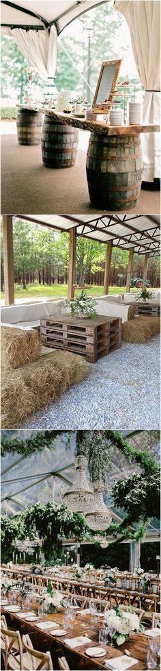 country rustic tented wedding reception ideas - so many creative ways to decorate for an outdoor wedding!