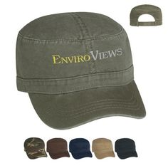 Washed cotton twill military cap with unstructured crown and pre-curved visor. Adjustable self-material strap with Velcro (R) closure. Military Cap, Military Life, Military Style, Best Way To Advertise, Trade Show Giveaways, Custom Hats, Military Fashion, Caps Hats, Baseball Hats