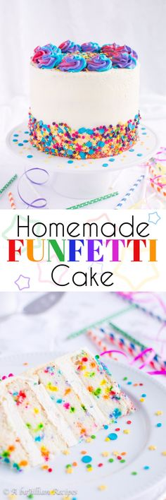 Homemade Funfetti Cake - Soft and tender vanilla cake brimming with rainbow sprinkles, filled with rainbow chip cheesecake mousse and frosted in creamy vanilla buttercream! A childhood favorite made from scratch!