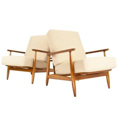 Beautiful Pair of Danish Modern Easy Chairs 1960s, New Upholstered | From a unique collection of antique and modern armchairs at https://www.1stdibs.com/furniture/seating/armchairs/