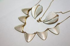 Vintage Scandinavian Enamel Necklace Set 1940s Jewelry by patwatty, $120.00