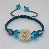 Stone Flower Macrame Bead Bracelet Kit - Off-White & Teal Blue