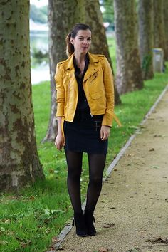 Get this look: http://lb.nu/look/8258439  More looks by Anne-Gaëlle Denay: http://lb.nu/rockngirly  Items in this look:  Aliexpress Yellow Perfecto, Mango Denim Black Skirt, Sheinside Black Shirt, Pimkie Black Boots   #ootd #outfit #outfitoftheday #fashion #yellow #yellowperfecto #likezara #denim #denimskirt