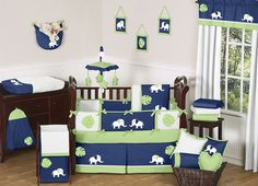 baby boy elephant nursery | NAVY BLUE LIME GREEN WHITE ELEPHANT BABY BEDDING BOY CRIB SET