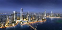 "Sasaki's ""Forest City"" Master Plan in Iskandar Malaysia Stretches Across 4 Islands,Rendered VIew. Image Courtesy of Sasaki Associates"
