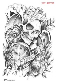 Large temporary tattoo stickers waterproof men arm leg fake transfer tattoo high quality sexy products skull clock poker designs
