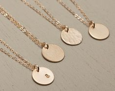 Dainty Tag Necklace in Custom Personalized Single or Multi-tag Necklace options. Perfect Gift for Her - moms, sisters, brides, bridesmaids... Gold Disk Necklace with Tiny Personalized Tags in 14k Gold Fill or Sterling Silver or Rose Gold Fill. **** PLEASE LEAVE YOUR LETTER STYLE SELECTION IN A NOTE AT CHECKOUT ***    Necklace: TINY PERSONALIZED DISC Disc 206_V  - Top quality, Dainty Chain thats strong and stays gorgeous! - Raw materials are 100% USA or Italian made - 100% 14K gold fill…