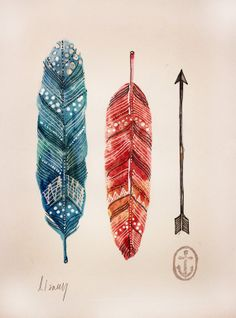 2 feathers & arrow original watercolor by AnchorsEndDesigns, $25.00