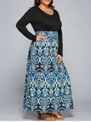 Plus Size Long Sleeve Printed Maxi Casual Dress  SHARE & Get it FREE | For Fashion Lovers only:80,000+ Items • New Arrivals Daily • Affordable Casual to Chic for Every Occasion Join Sammydress: Get YOUR $50 NOW!